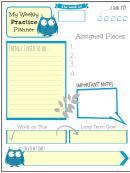 Weekly Practice Planner For Kids Blue Owl