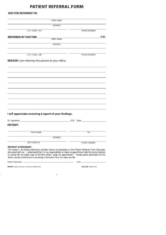 doctor referral form template - medical referral form printable pdf download