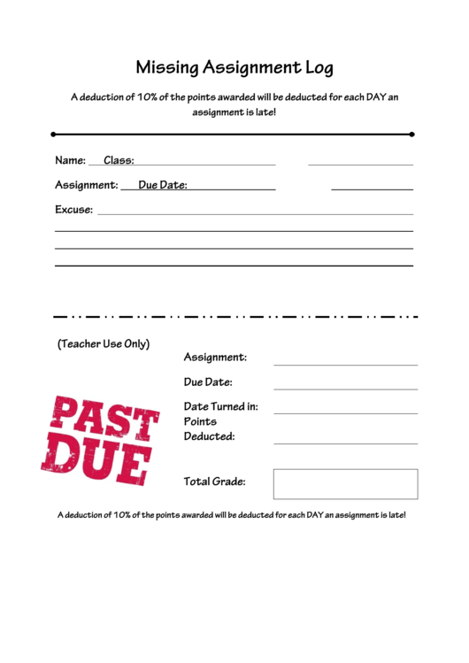 Missing assignment log printable pdf download for Assignment of benefits form template