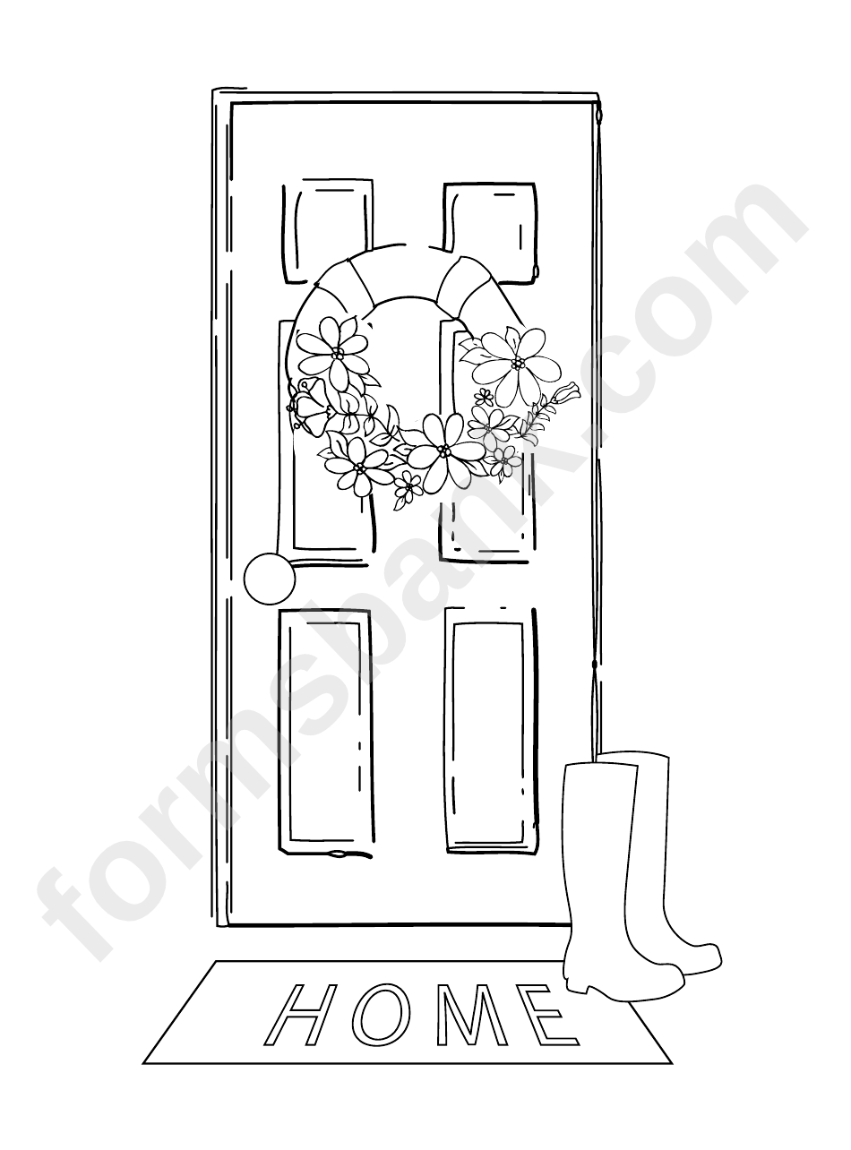 Spring Front Door Wreath And Rain Boots Coloring Sheet printable pdf ...