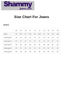 Shammy Size Chart For Jeans