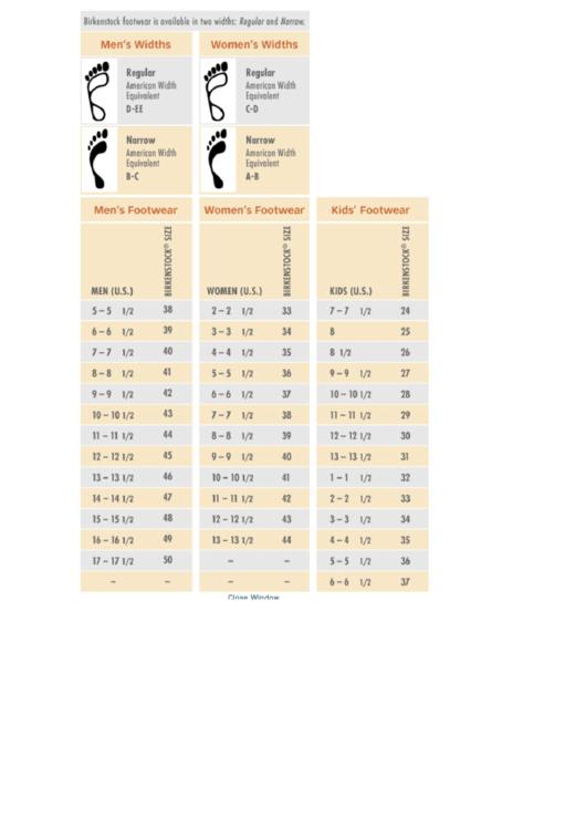 Birkenstock European Shoe Conversion Sizing Chart
