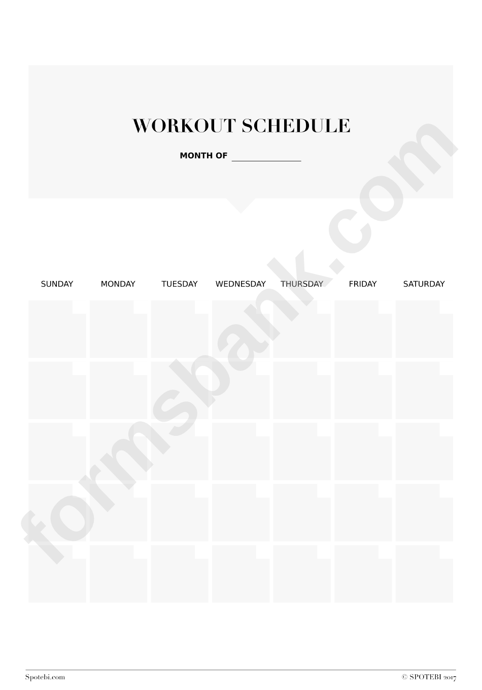Workout Schedule Template printable pdf download