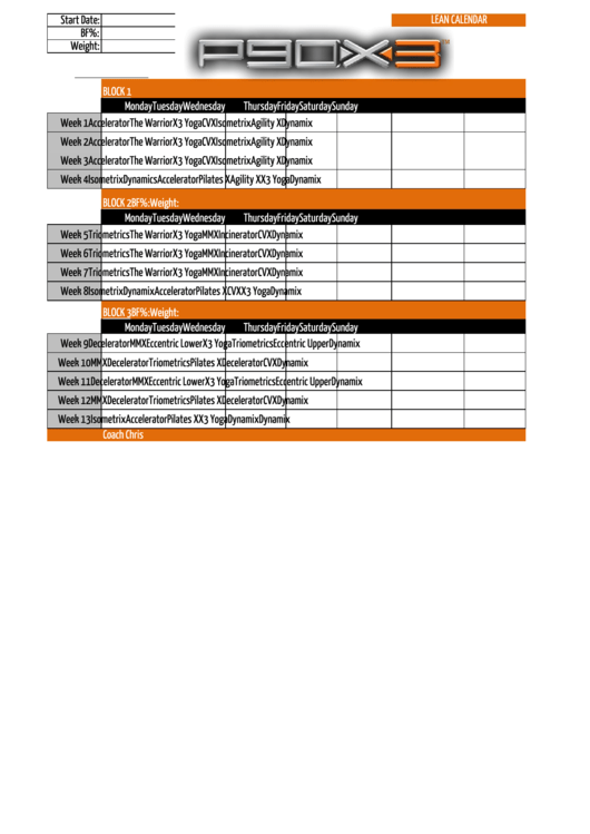 P90x3 Workout Schedule Template - Lean Calendar printable pdf download