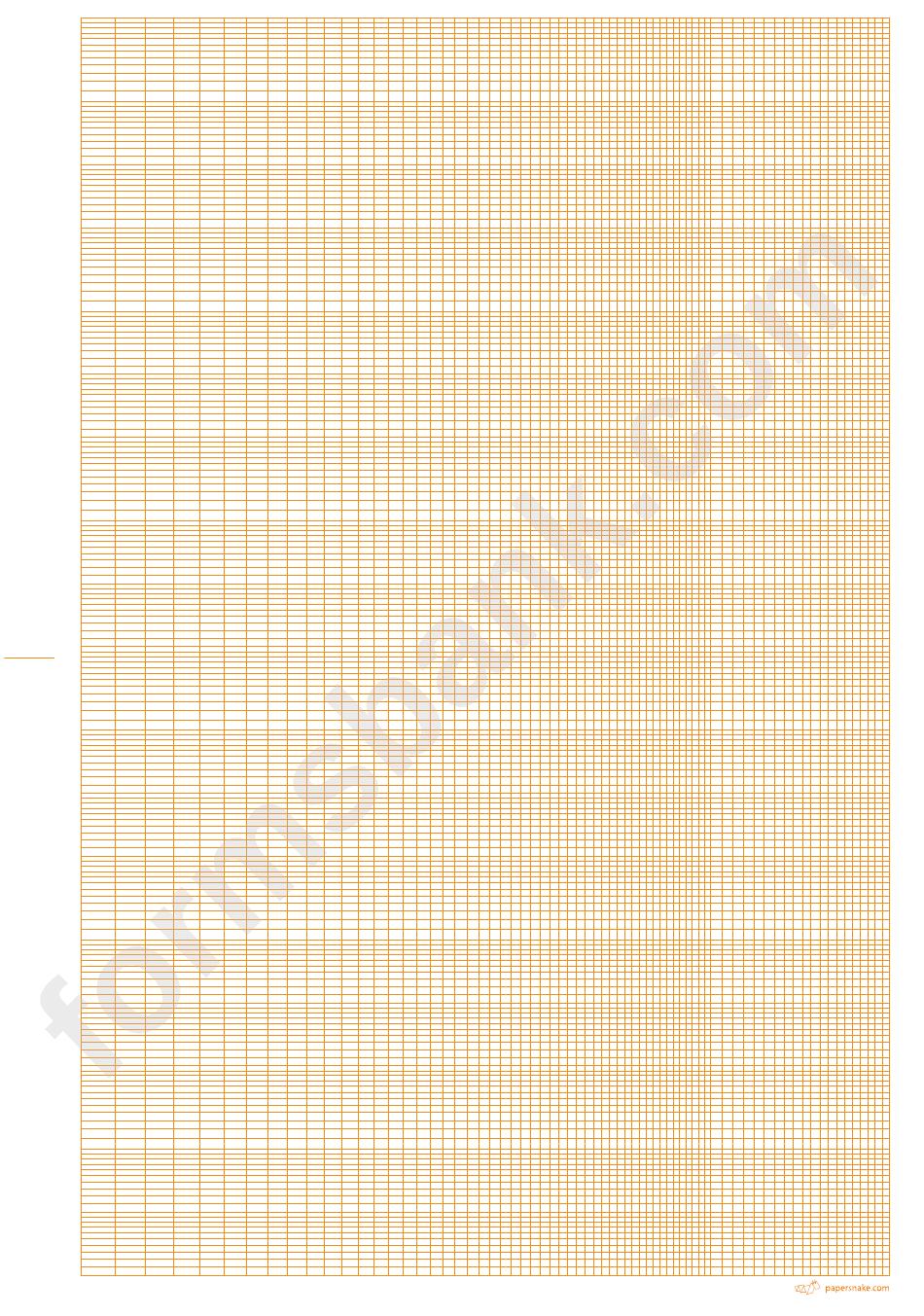 Logarithmic Graph Paper - 6 Decades (Orange On White) printable pdf