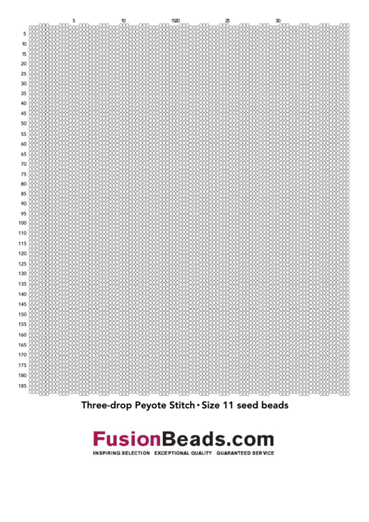 Three-Drop Peyote Stitch Graph Paper - Size 11 Seed Beads Printable pdf