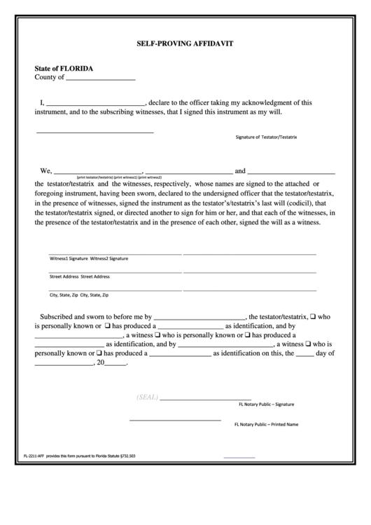 Self Proving Affidavit Printable Pdf Download
