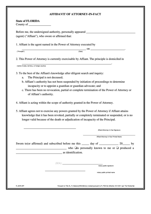 Affidavit Of Attorney-In-Fact Form printable pdf download