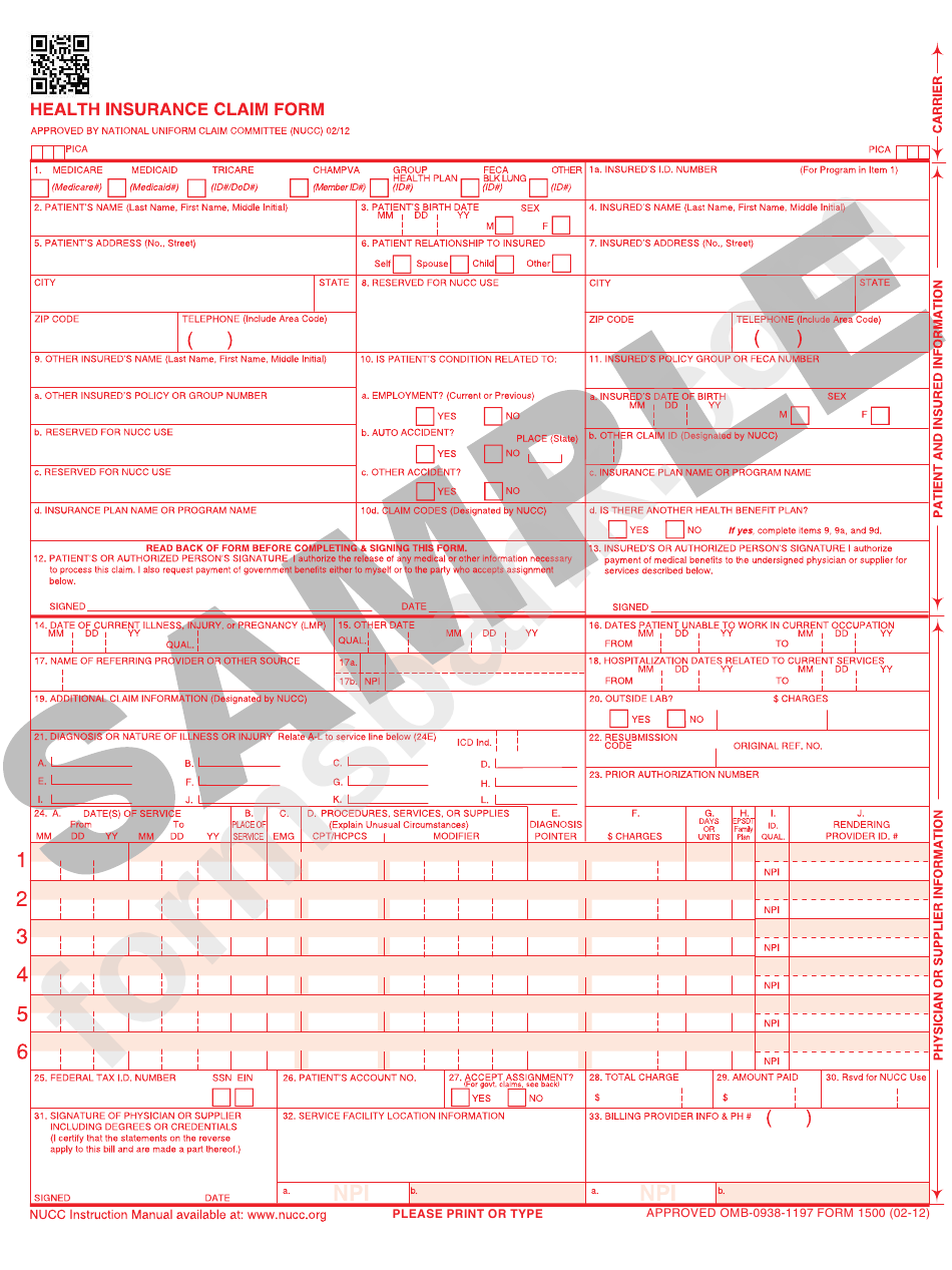 Health Insurance Claim Form printable pdf download