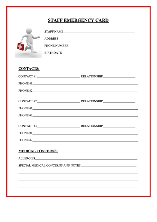staff emergency card printable pdf download