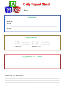 Daily Report Sheet For Children