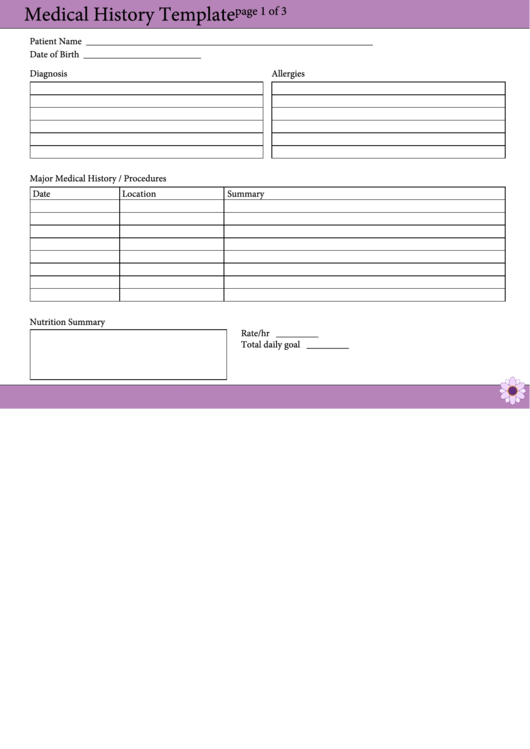 Fillable Medical History Template Printable pdf