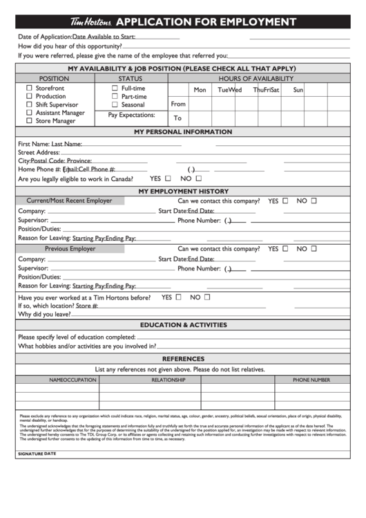 Fillable Application For Employment Printable pdf