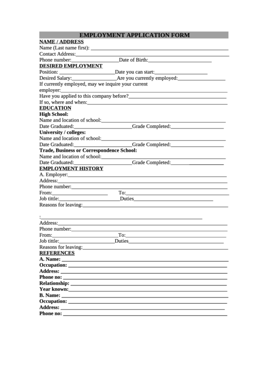 Employment Application Form Printable pdf