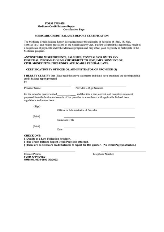 form medicare cms certification report printable credit pdf balance template