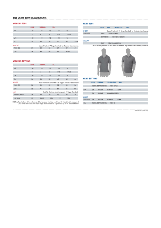 Size Chart Body Measurements printable pdf download