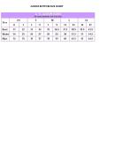 Junior Bottom Size Chart