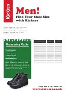 Kickers Men's Shoe Size Guide