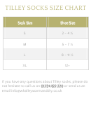Tilley Socks Size Chart