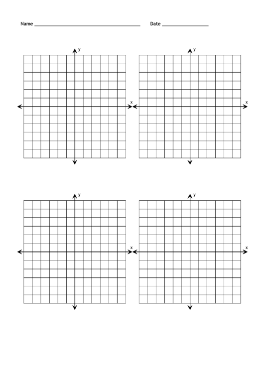 Blank Coordinate Grid Templates - Four Per Page