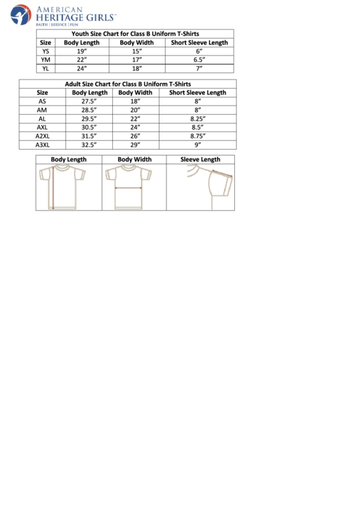 American Heritage Girls Youth Size Chart