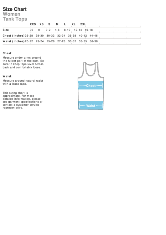 American Apparel Women Tank Tops Size Chart