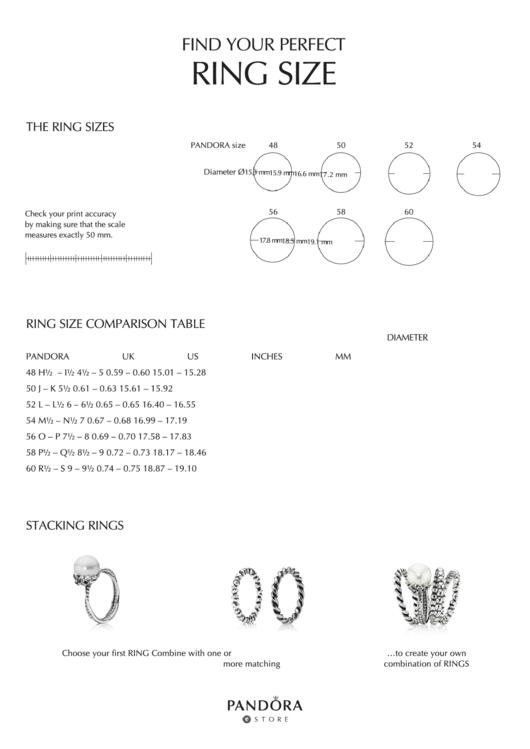 Pandora Ring Size Chart Printable Pdf Download