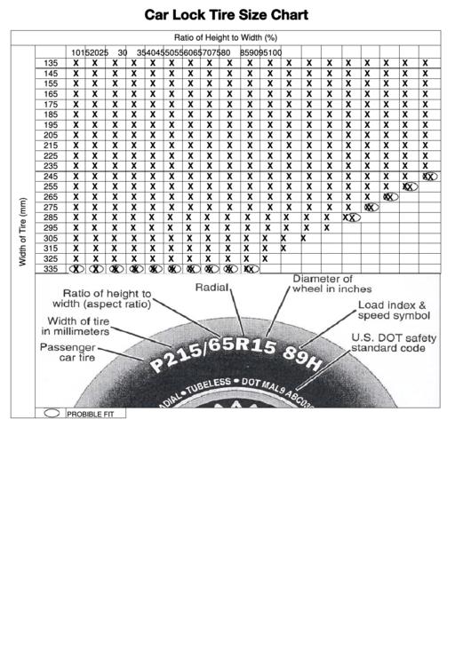 Car Lock Tire Size Chart
