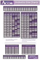 Acor Orthotics Size Charts