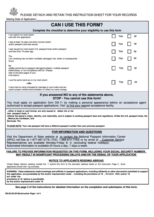 Form Ds-82 - U.s. Passport Renewal Application For Eligible Individuals