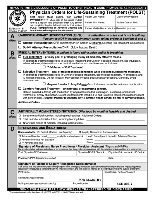 Physician Orders For Life-Sustaining Treatment (Polst) Printable pdf