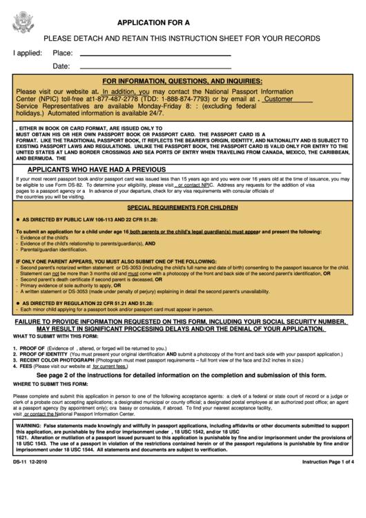 Ds-11 - Application For A U.s. Passport