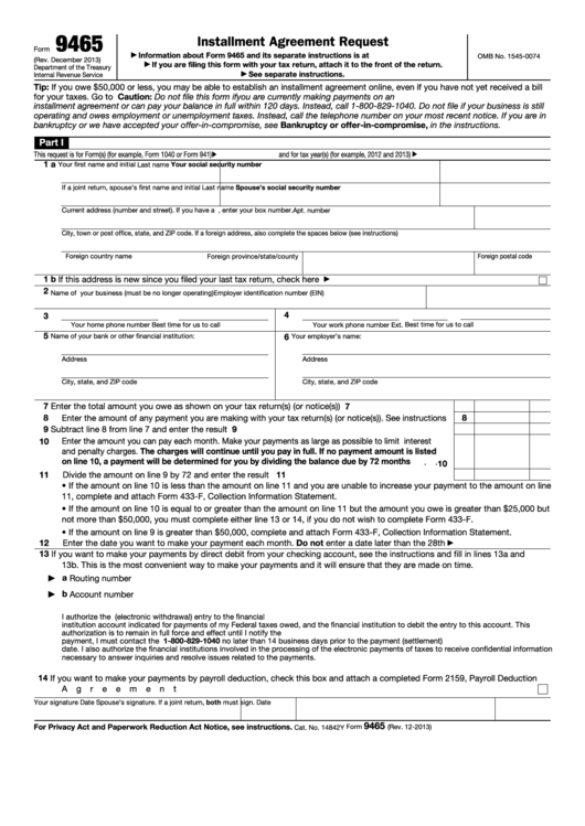 Fillable Form 9465 Installment Agreement Request Printable Pdf