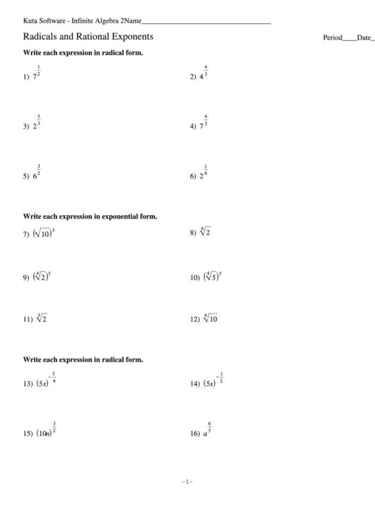 Radicals And Rational Exponents Worksheet Printable pdf