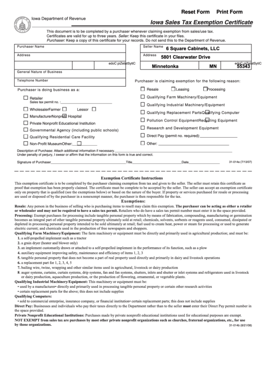 Iowa Sales Tax Exemption Certificate - 6 Square Cabinets printable ...