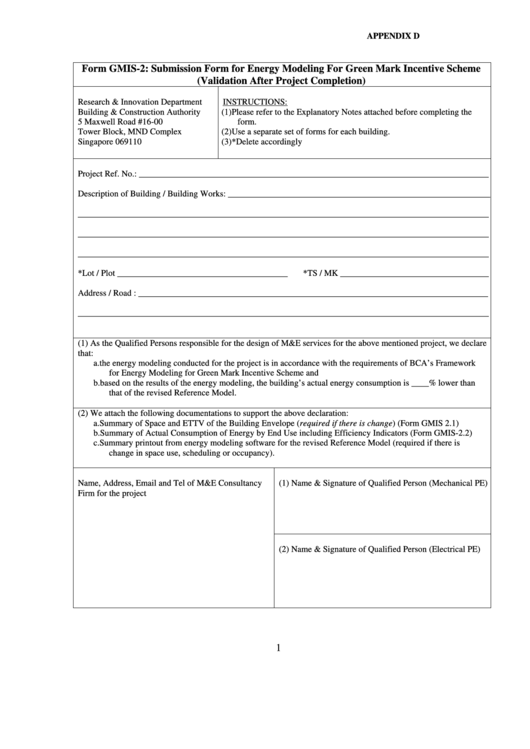 Submission Form For Energy Modeling For Green Printable pdf