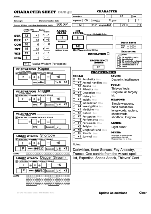 photograph relating to Dnd 5e Printable Character Sheet referred to as Fillable D And D 5e Uncomplicated Engage in Personality Sheets Elf Rogue