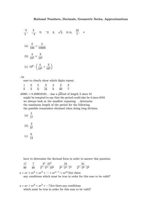 Rational Numbers, Decimals, Geometric Series, Approximations