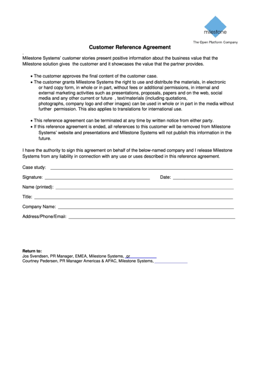 Customer Reference Agreement Form - Milestone Systems Printable pdf