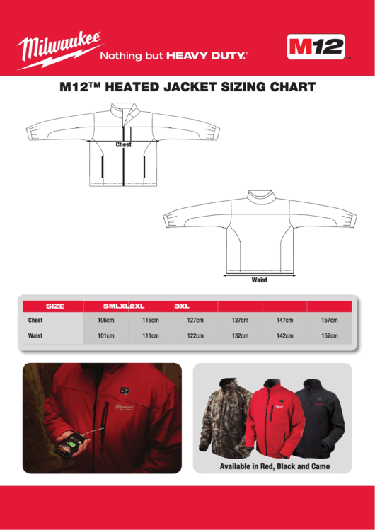 Milwaukee M12 Heated Jacket Sizing Chart Printable Pdf