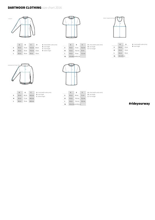 Dartmoor Clothing Size Chart