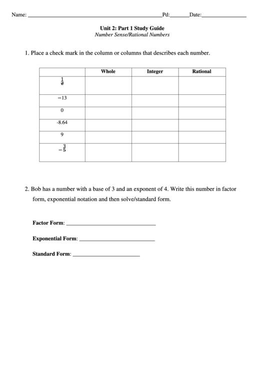 Rational Numbers Worksheet