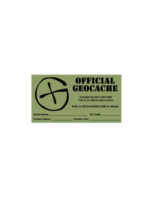 Label Templates Official Geocache Printable pdf