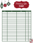 Holiday Gifts List Template